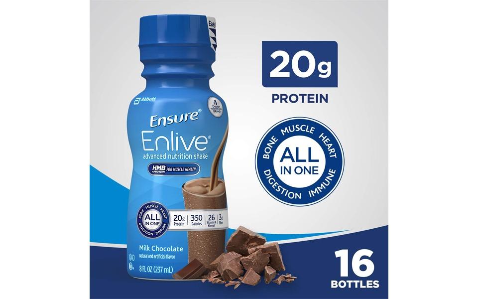 Sticlă de Ensure Enlive Nutrition Shake.